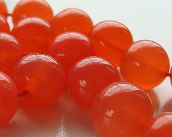 Chalcedony Beads 9mm Bright Neon Mango Pink Orange Smooth Rounds - 8 Pieces