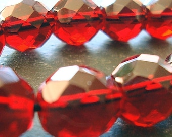 Czech Glass Beads 10mm Cranberry Garnet Red Faceted Rounds - 10 Pieces