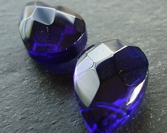 Czech Glass Beads 15 x 10mm Brilliant Puffed Cobalt Blue Faceted Briolettes - 2 Pcs.