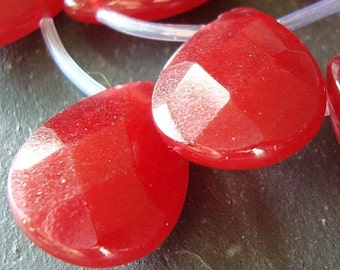 Jade Beads 20 x 15mm Cranberry Red Faceted Briolette Teardrops - 2 Pieces