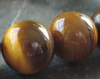 Tiger Eye Beads 12mm Smooth Flash Brown Round Naturals - (4 Pieces)