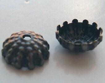 Brass Findings 7mm Vintaj Natural Brass Hobnail Bead Caps - 8 pieces