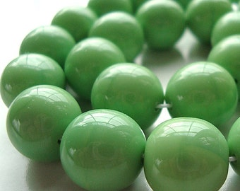 Czech Glass Beads 10mm Lime Green Opaque Smooth Rounds - 10 Pieces