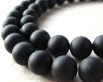 6mm Jet Black Onyx Smooth Frosted Matte Round Beads - 12 Pieces