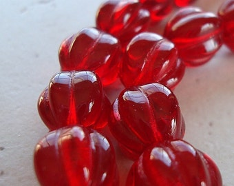 Czech Glass Beads 10mm Shiny Translucent Crimson Red Melons - 12 Pieces