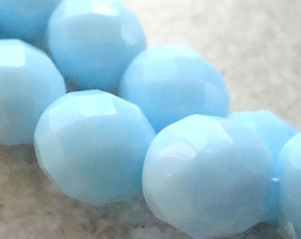 Czech Glass Beads 10mm Faceted Baby Blue Rounds - 8 Pieces
