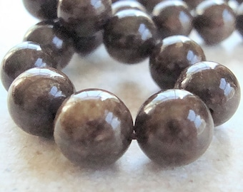 Bronzite Beads 8mm Lustrous Chocolate Brown Smooth Rounds -  12 Pieces