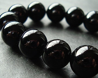 Onyx Beads 6mm Jet Black Onyx Smooth Shiny Rounds - 12 Pieces