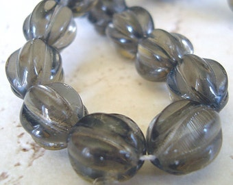 Czech Glass Beads 10mm Smoky Gray Black Fluted Melons - 8 Pieces