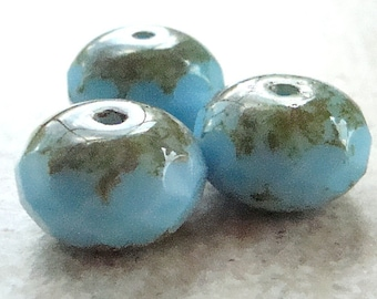 Czech Glass Rondelle Beads 14 x 9mm Powder Blue Stone Finish Faceted - 4 Pieces