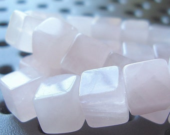 Rose Quartz Beads 8mm Natural Pink 3D Square Cubes - 12 Pieces