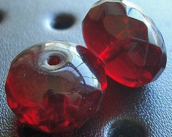 Czech Glass Beads 14 x 9mm Garnet Red Faceted Rondelles - 4 Pieces