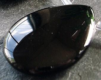 Onyx Pendant Bead 60 x 40mm Jet Black Smooth Teardrop Briolette - 1 Piece