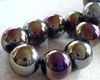 Glass Beads 10mm Iridescent Blue/Black  Rainbow Aurora Borealis Smooth Rounds - 8 Pieces