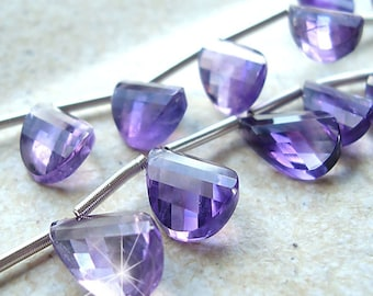 Amethyst Beads Purple Passion Faceted Drop Twisted Graduated Pear Gemstones -  4 inch Strand