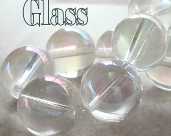 Czech Glass Beads 20mm Clear Iridescent AB Smooth Round Balls - 6 Pieces
