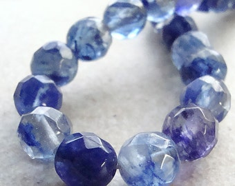 Czech Glass Beads 10mm Brilliant Marble Blueberry Glass Faceted Rounds - 10 Pcs.