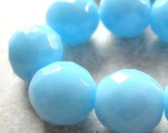 Czech Glass Beads 12mm  Faceted Baby Blue Rounds - 6 Pieces