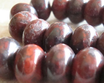 Jasper Beads 12 x 8mm Smooth Burgundy Red Brecciated Rondelles - 8 Pieces