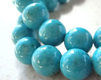 Fossil Beads 8mm Natural Aqua Blue Smooth Round Stones - 16 Pieces