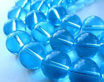 Glass Beads 12mm Aqua Blue Glass Round Smooth Balls - 8 Pieces