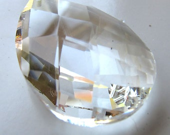 Crystal Glass Pendant 37 x 25mm Clear Faceted Lead Safe Teardrop - 1 Piece