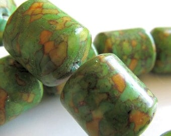 Fire Turquoise Beads 18 x 14mm Green Shiny Smooth Barrels -  2 Pieces