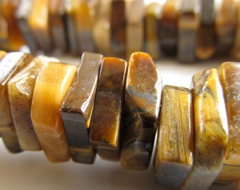 Tiger Eye Beads 10 x 4mm Smooth Chatoyant Golden Brown Tigereye Squared Plates - 20 pieces