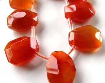 Agate Beads 18 x 15mm Burnt Orange Faceted Full Briolette Teardrops - 16 inch Strand