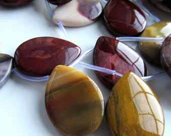 Mookaite Beads 35 X 25mm Smooth Mookaite Multi Colored Full Pendants - 4 Pieces