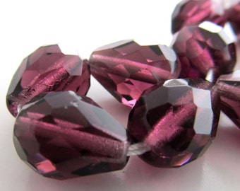 Czech Glass Beads 13 x 10mm Amethyst Purple Faceted Teardrops - 6 Pieces