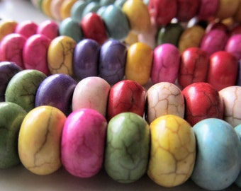 Howlite Beads 10 X 6mm Multi Colored Rondelles - 16 inch Strand