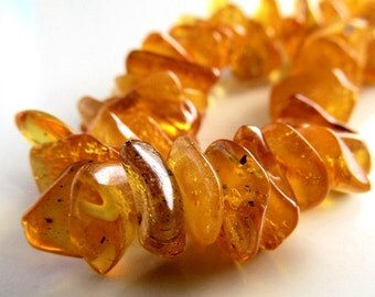 "Baltic Amber Beads 12 X 4mm Natural Baltic Amber Chip Necklace - 30"" Strand"