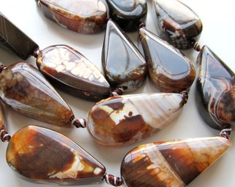 Crab Agate Focal Beads 40 x 22 X 14mm Big Smooth Ginger Brown Crab Teardrop - 4 Pieces