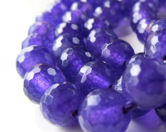 Jade Beads 8mm Violet Purple Faceted Candy Jade Rounds -  12 Pieces