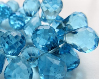 Quartz Beads 11 x 8mm Swiss Blue Faceted Crystal Quartz Teardrops - 4 inch Strand
