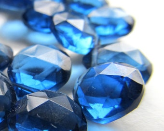 Quartz Beads 10mm Dark Royal Blue Faceted Crystal Quartz Heart Teardrops - 4 inch Strand