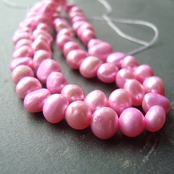 Pearl Beads 7mm Lustrous Bubble Gum Pink Freshwater Round Potatoes  - 8 inch Strand
