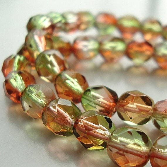 Czech Glass Beads 6mm Two Tone Red / Olive Faceted Rounds - 12 Pieces