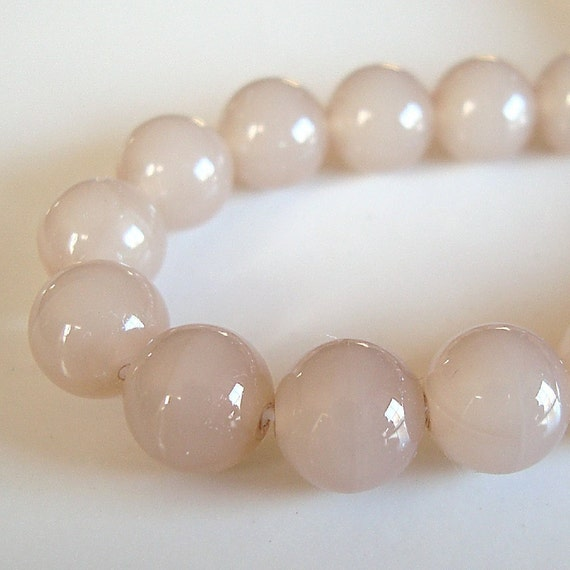 Czech Glass Beads 8mm Milky Finish Caramel Tan Smooth Rounds - (54 Pieces)