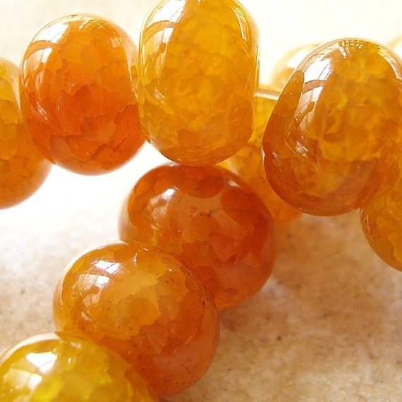 Fire Agate Beads 14 x 10mm Golden Yellow Shiny Smooth Fire Agate Rondelles - (Last 4 Pieces)