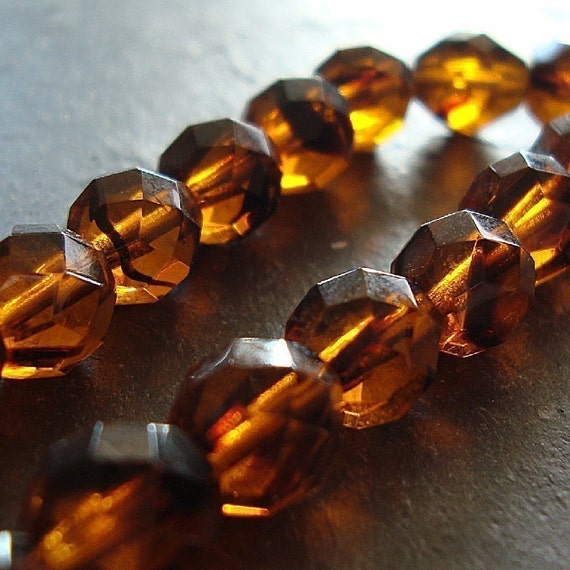 Czech Glass Beads 12mm Tortoise Brown Faceted Rounds - 8 Pieces
