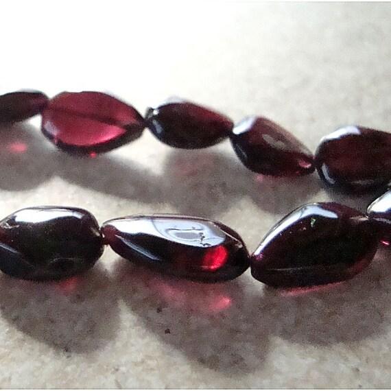 Garnet Beads 8 x 6mm Smooth Deep Cranberry Red Pointed Nugget Garnet Gemstones - (Last 14 Pieces)