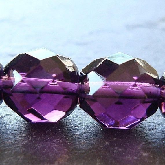 Czech Glass Beads 12mm Faceted Round Dark Plum Purple - 8 Pieces