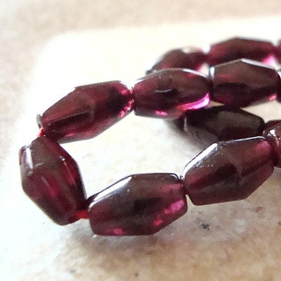 Garnet Beads 8 x 5mm Smooth Deep Cranberry Red Bi Cone Garnet Gemstones - (Last 5 Pieces)