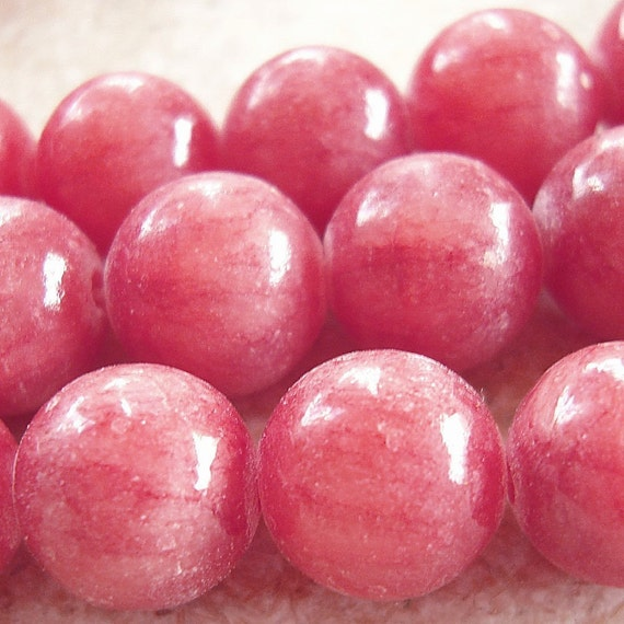 Rhodochrosite Beads 8mm Berry Pink Smooth Rounds - 10 Pieces