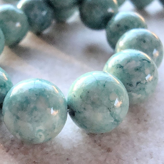 Fossil Beads 12mm Natural Mint Green Smooth Rounds - 10 Pieces