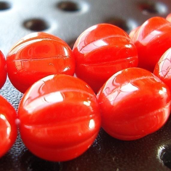 Czech Glass Beads 10mm Opaque Orange Round Melons - (Last 25 Pieces)