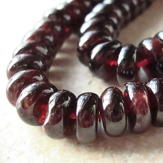 Garnet Rondelle Beads  6 x 3mm Smooth Deep Cranberry Red - 4 inch Strand