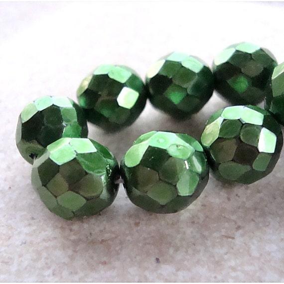 Czech Glass Beads 10mm Metallic Emerald Green Faceted Rounds - 8 Pieces